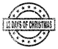 Grunge Textured 12 DAYS OF CHRISTMAS Stamp Seal. 12 DAYS OF CHRISTMAS stamp seal watermark with distress style. Designed with rectangle, circles and stars. Black royalty free illustration
