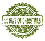 Grunge Textured 12 DAYS OF CHRISTMAS Stamp Seal. 12 DAYS OF CHRISTMAS stamp seal watermark with rubber print style. Green rubber print of 12 DAYS OF CHRISTMAS vector illustration