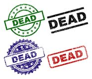 Grunge Textured DEAD Seal Stamps. DEAD seal stamps with damaged texture. Black, green,red,blue vector rubber prints of DEAD caption with grunge texture. Rubber vector illustration