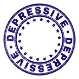 Grunge Textured DEPRESSIVE Round Stamp Seal. DEPRESSIVE stamp seal watermark with grunge effect. Designed with circles and stars. Blue vector rubber print of royalty free illustration
