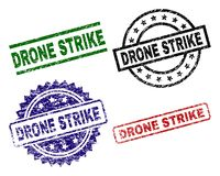 Grunge Textured DRONE STRIKE Seal Stamps. DRONE STRIKE seal stamps with corroded surface. Black, green,red,blue vector rubber prints of DRONE STRIKE tag with vector illustration