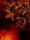 Grunge textured el contexto con los elementos florales Foto de archivo libre de regalías