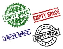 Grunge Textured EMPTY SPACE Seal Stamps. EMPTY SPACE seal prints with corroded texture. Black, green,red,blue vector rubber prints of EMPTY SPACE label with royalty free illustration