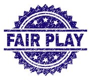 Grunge Textured FAIR PLAY Stamp Seal. FAIR PLAY stamp seal watermark with distress style. Blue vector rubber print of FAIR PLAY title with scratched texture vector illustration