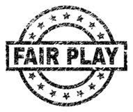 Grunge Textured FAIR PLAY Stamp Seal. FAIR PLAY stamp seal watermark with distress style. Designed with rectangle, circles and stars. Black vector rubber print royalty free illustration