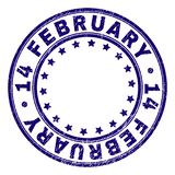 Grunge Textured 14 FEBRUARY Round Stamp Seal. 14 FEBRUARY stamp seal imprint with grunge effect. Designed with round shapes and stars. Blue vector rubber print stock illustration