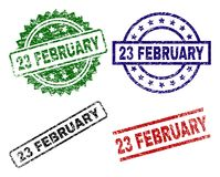Grunge Textured 23 FEBRUARY Seal Stamps. 23 FEBRUARY seal stamps with damaged texture. Black, green,red,blue vector rubber prints of 23 FEBRUARY title with dust vector illustration