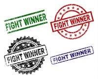 Grunge Textured FIGHT WINNER Seal Stamps. FIGHT WINNER seal stamps with corroded surface. Black, green,red,blue vector rubber prints of FIGHT WINNER title with stock illustration