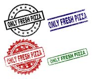 Grunge Textured ONLY FRESH PIZZA Seal Stamps. ONLY FRESH PIZZA seal stamps with corroded texture. Black, green,red,blue vector rubber prints of ONLY FRESH PIZZA vector illustration