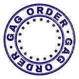 Grunge Textured GAG ORDER Round Stamp Seal. GAG ORDER stamp seal imprint with grunge texture. Designed with circles and stars. Blue vector rubber print of GAG vector illustration