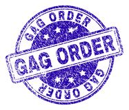 Grunge Textured GAG ORDER Stamp Seal. GAG ORDER stamp seal watermark with distress texture. Designed with rounded rectangles and circles. Blue vector rubber stock illustration
