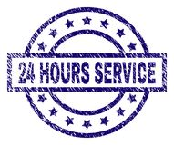 Grunge Textured 24 HOURS SERVICE Stamp Seal. 24 HOURS SERVICE stamp seal watermark with distress texture. Designed with rectangle, circles and stars. Blue vector Stock Photo