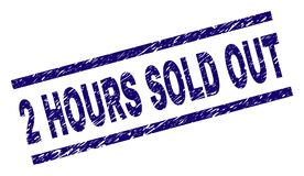 Grunge Textured 2 HOURS SOLD OUT Stamp Seal. 2 HOURS SOLD OUT stamp seal watermark with scratced style. Blue  rubber print of 2 HOURS SOLD OUT text with corroded Royalty Free Stock Image