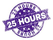 Grunge Textured 25 HOURS Stamp Seal. 25 HOURS stamp seal imprint with distress texture. Designed with ribbon and circles. Violet vector rubber print of 25 HOURS Royalty Free Stock Image