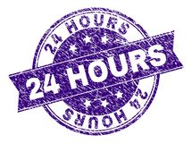 Grunge Textured 24 HOURS Stamp Seal. 24 HOURS stamp seal imprint with grunge texture. Designed with ribbon and circles. Violet vector rubber print of 24 HOURS Royalty Free Stock Photography
