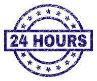Grunge Textured 24 HOURS Stamp Seal. 24 HOURS stamp seal watermark with grunge texture. Designed with rectangle, circles and stars. Blue vector rubber print of Stock Images