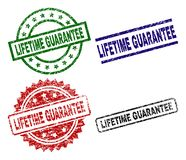 Grunge Textured LIFETIME GUARANTEE Seal Stamps. LIFETIME GUARANTEE seal stamps with damaged surface. Black, green,red,blue vector rubber prints of LIFETIME royalty free illustration