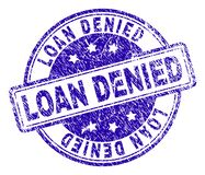 Grunge Textured LOAN DENIED Stamp Seal. LOAN DENIED stamp seal imprint with distress texture. Designed with rounded rectangles and circles. Blue vector rubber stock illustration