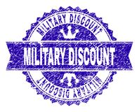 Grunge Textured MILITARY DISCOUNT Stamp Seal with Ribbon royalty free illustration