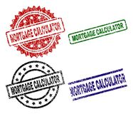 Grunge Textured MORTGAGE CALCULATOR Stamp Seals vector illustration