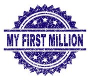 Grunge Textured MY FIRST MILLION Stamp Seal. MY FIRST MILLION stamp seal watermark with distress style. Blue vector rubber print of MY FIRST MILLION title with stock illustration