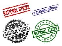 Grunge Textured NATIONAL STRIKE Seal Stamps. NATIONAL STRIKE seal stamps with distress style. Black, green,red,blue vector rubber prints of NATIONAL STRIKE vector illustration
