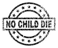 Grunge Textured NO CHILD DIE Stamp Seal. NO CHILD DIE stamp seal watermark with distress style. Designed with rectangle, circles and stars. Black vector rubber stock illustration