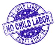 Grunge Textured NO CHILD LABOR Stamp Seal. NO CHILD LABOR stamp seal imprint with grunge texture. Designed with rounded rectangles and circles. Blue vector vector illustration
