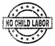 Grunge Textured NO CHILD LABOR Stamp Seal. NO CHILD LABOR stamp seal watermark with distress style. Designed with rectangle, circles and stars. Black vector stock illustration