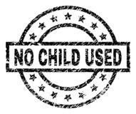 Grunge Textured NO CHILD USED Stamp Seal. NO CHILD USED stamp seal watermark with distress style. Designed with rectangle, circles and stars. Black vector rubber stock illustration