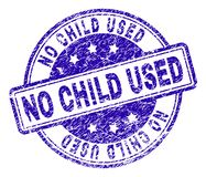 Grunge Textured NO CHILD USED Stamp Seal. NO CHILD USED stamp seal watermark with grunge texture. Designed with rounded rectangles and circles. Blue vector royalty free illustration