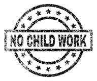 Grunge Textured NO CHILD WORK Stamp Seal. NO CHILD WORK stamp seal watermark with distress style. Designed with rectangle, circles and stars. Black vector rubber vector illustration