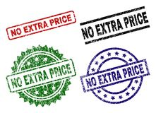 Grunge Textured NO EXTRA PRICE Seal Stamps. NO EXTRA PRICE seal prints with damaged surface. Black, green,red,blue vector rubber prints of NO EXTRA PRICE label vector illustration