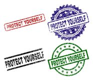 Grunge Textured PROTECT YOURSELF Seal Stamps. PROTECT YOURSELF seal stamps with corroded texture. Black, green,red,blue vector rubber prints of PROTECT YOURSELF vector illustration