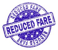 Grunge Textured REDUCED FARE Stamp Seal. REDUCED FARE stamp seal imprint with grunge texture. Designed with rounded rectangles and circles. Blue vector rubber vector illustration