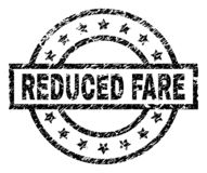 Grunge Textured REDUCED FARE Stamp Seal. REDUCED FARE stamp seal watermark with distress style. Designed with rectangle, circles and stars. Black vector rubber stock illustration