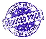 Grunge Textured REDUCED PRICE Stamp Seal. REDUCED PRICE stamp seal watermark with distress texture. Designed with rounded rectangles and circles. Blue vector royalty free illustration
