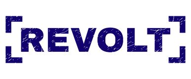 Grunge Textured REVOLT Stamp Seal Inside Corners. REVOLT label seal print with grunge style. Text label is placed inside corners. Blue vector rubber print of vector illustration