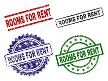 Grunge Textured ROOMS FOR RENT Seal Stamps. ROOMS FOR RENT seal prints with corroded style. Black, green,red,blue vector rubber prints of ROOMS FOR RENT title stock illustration