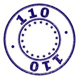 Grunge Textured 110 Round Stamp Seal. 110 stamp seal imprint with distress texture. Designed with circles and stars. Blue vector rubber print of 110 text with royalty free illustration
