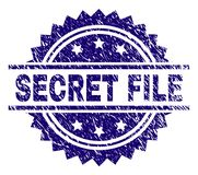 Grunge Textured SECRET FILE Stamp Seal. SECRET FILE stamp seal watermark with distress style. Blue vector rubber print of SECRET FILE tag with scratched texture royalty free illustration