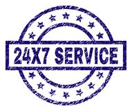 Grunge Textured 24X7 SERVICE Stamp Seal. 24X7 SERVICE stamp seal watermark with distress texture. Designed with rectangle, circles and stars. Blue vector rubber Stock Photos