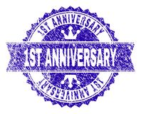 Grunge Textured 1ST ANNIVERSARY Stamp Seal with Ribbon. 1ST ANNIVERSARY rosette stamp watermark with distress style. Designed with round rosette, ribbon and stock illustration