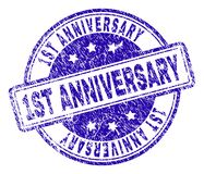 Grunge Textured 1ST ANNIVERSARY Stamp Seal. 1ST ANNIVERSARY stamp seal imprint with distress texture. Designed with rounded rectangles and circles. Blue vector Stock Illustration