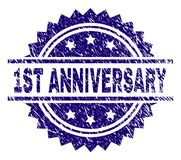 Grunge Textured 1ST ANNIVERSARY Stamp Seal. 1ST ANNIVERSARY stamp seal watermark with distress style. Blue vector rubber print of 1ST ANNIVERSARY caption with vector illustration