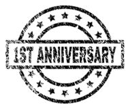 Grunge Textured 1ST ANNIVERSARY Stamp Seal. 1ST ANNIVERSARY stamp seal watermark with distress style. Designed with rectangle, circles and stars. Black vector vector illustration
