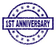 Grunge Textured 1ST ANNIVERSARY Stamp Seal. 1ST ANNIVERSARY stamp seal watermark with grunge texture. Designed with rectangle, circles and stars. Blue rubber royalty free illustration