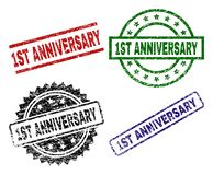 Grunge Textured 1ST ANNIVERSARY Stamp Seals. 1ST ANNIVERSARY seal prints with distress texture. Black, green,red,blue vector rubber prints of 1ST ANNIVERSARY tag Vector Illustration