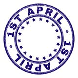 Grunge Textured 1ST APRIL Round Stamp Seal. 1ST APRIL stamp seal imprint with grunge style. Designed with round shapes and stars. Blue vector rubber print of 1ST stock illustration