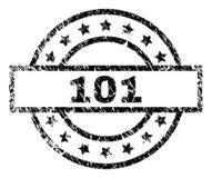 Grunge Textured 101 Stamp Seal. 101 stamp seal watermark with distress style. Designed with rectangle, circles and stars. Black vector rubber print of 101 text vector illustration